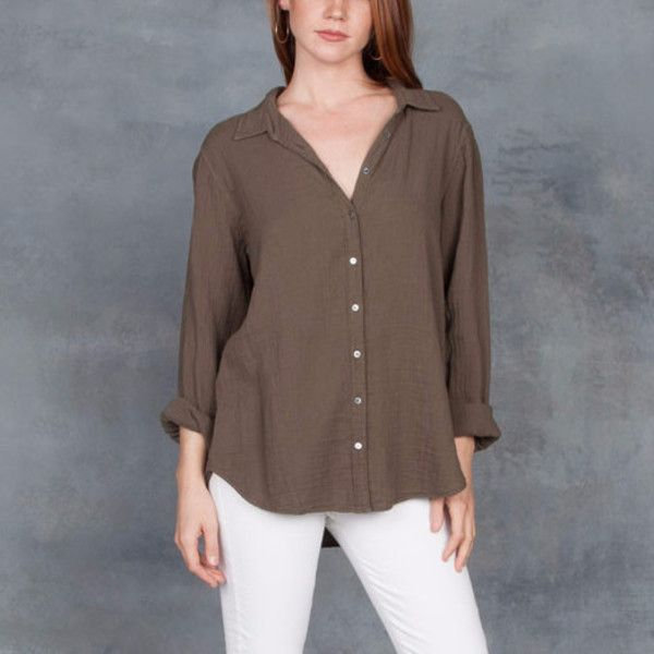 Xirena's Scout style is a very relaxed, comfortable blouse that has a oversized boyfriend style. Long sleeve blouse is made in a soft cotton gauze fabric. Classic shirt styling with soft hand feel. Made in USA. Color: Terrain (army green color)