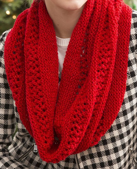 Free Knitting Pattern for Easy Lace and Garter Stitch Infinity Scarf ...