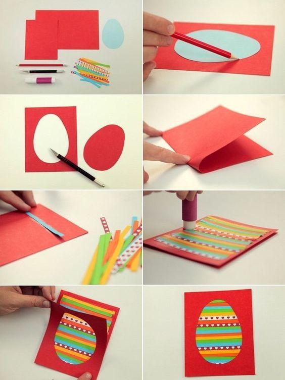 easter kids crafts diy easter cards egg colourful paper stripes