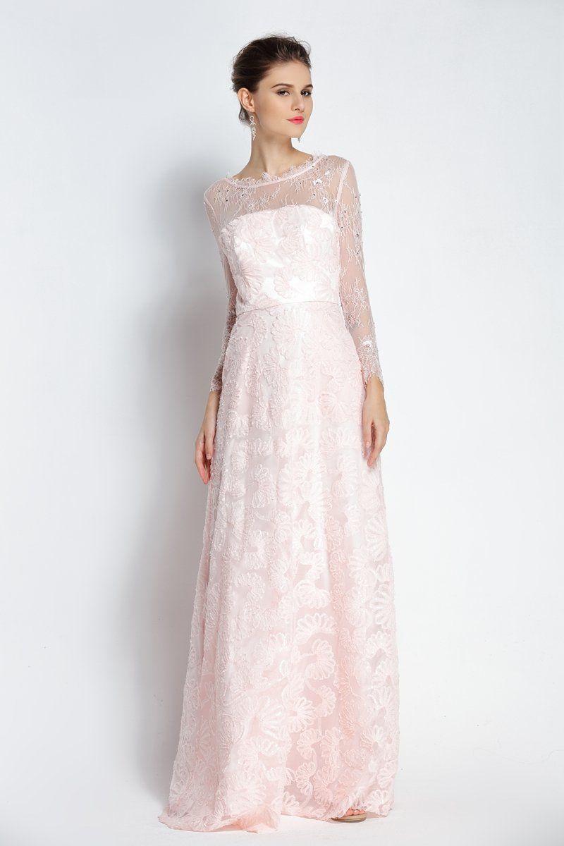 Aline floorlength bateau scalloped lace long sleeve prom dress