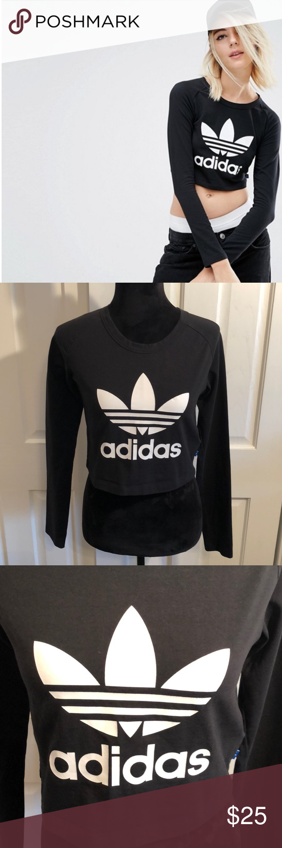 a38b5c25c399a Adidas Originals Long Sleeve Crop Top Trefoil Logo adidas Originals Long  Sleeve Crop Top With Trefoil Logo Preowned like new condition adidas Tops  Tees ...