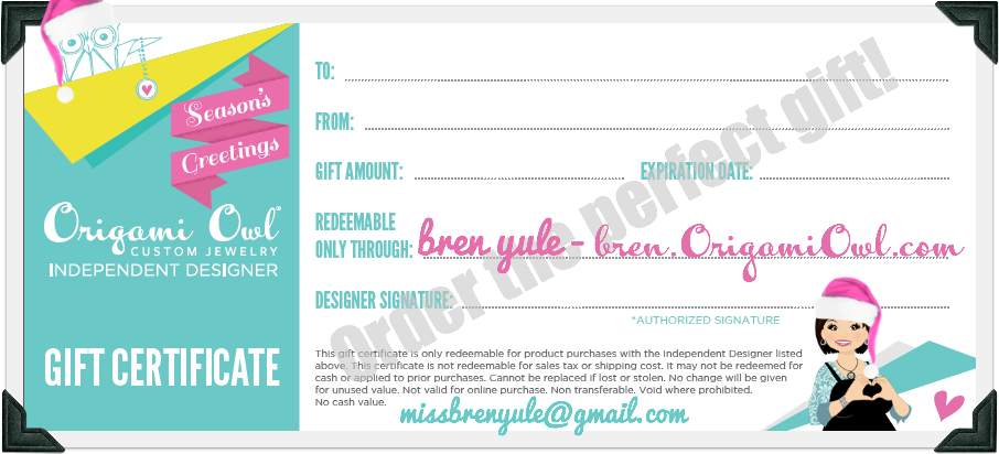 Origami Owl Gift Certificate Template Arts Arts
