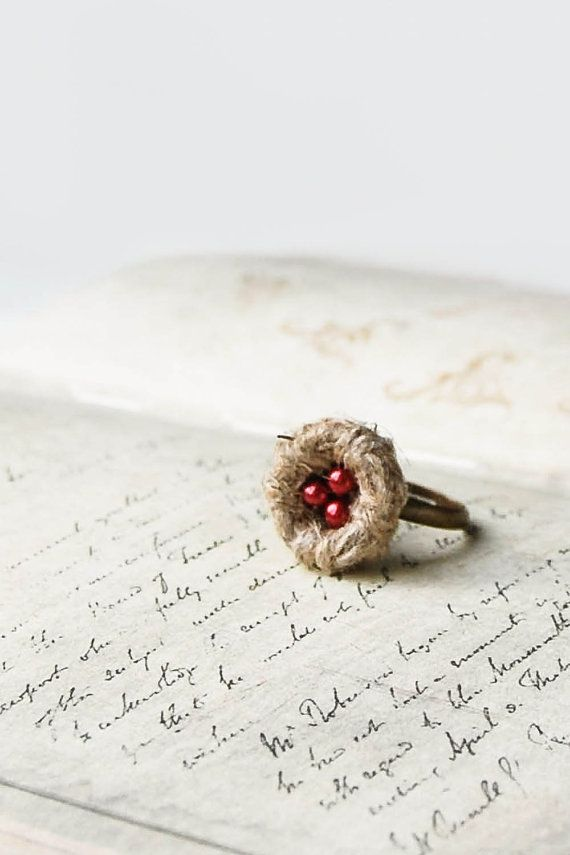 Red Birds Nest Ring - Small Nest Adjustable Ring - Woodland Eco Jewelry - Wedding Favor