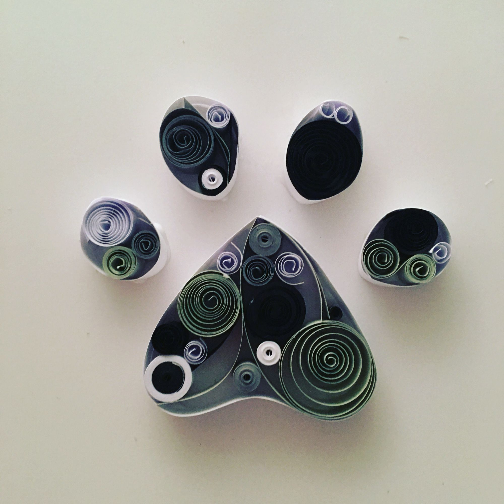 Paw print paper quilling art, perfect for gift or home