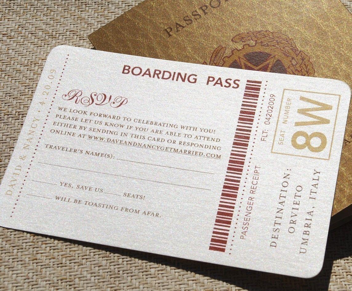 European Travel Passport Wedding Invitation (Antique Gold and Red ...