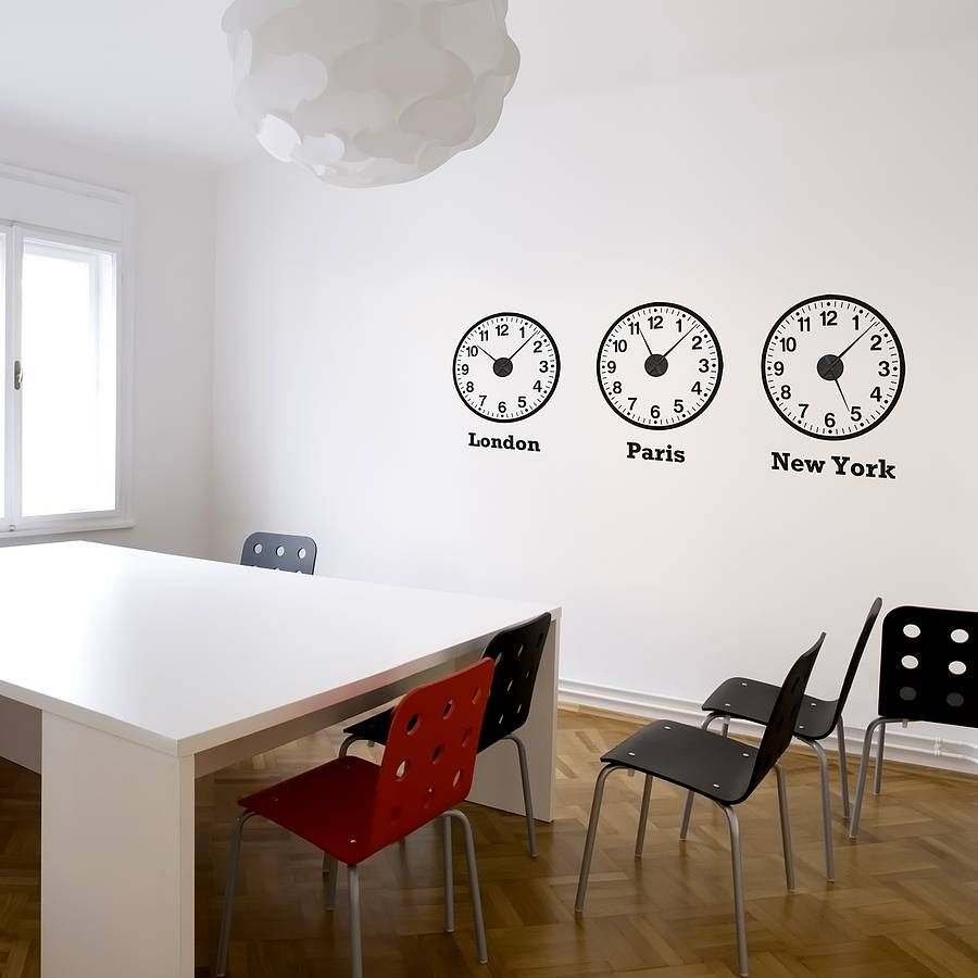 Time Zone Clocks Wall Stickers Mechanisms Time Zone Clocks - Wall decals clock