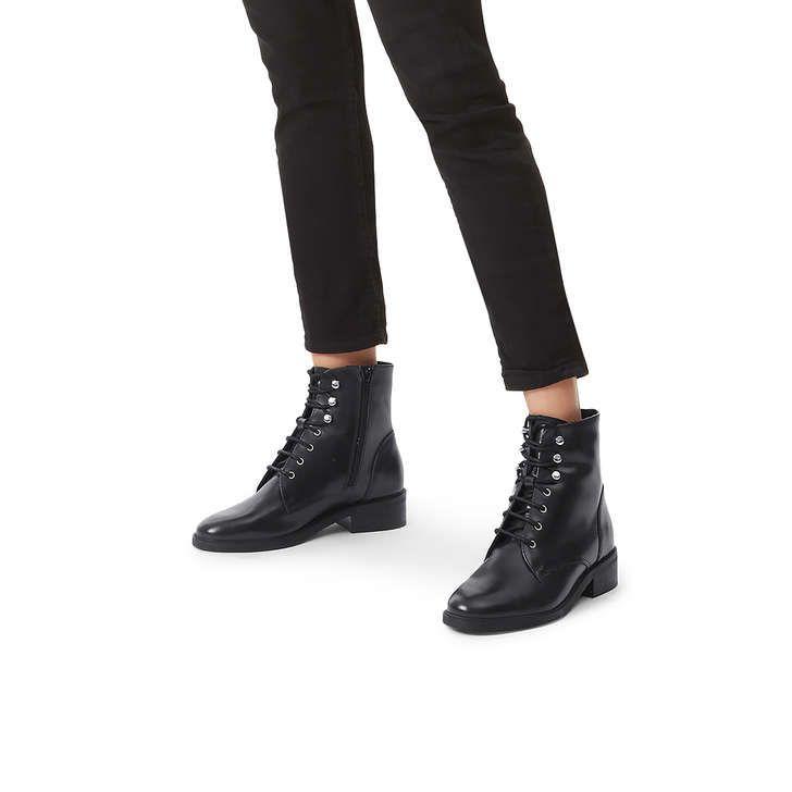 Skewer Black Flat Lace Up Biker Boots