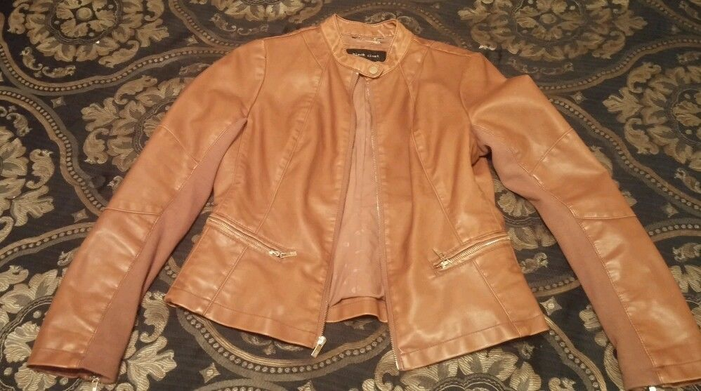 Black Rivet womens medium cognac Faux-leather Jacket with knit inset ( 8/10) in Coats & Jackets | eBay