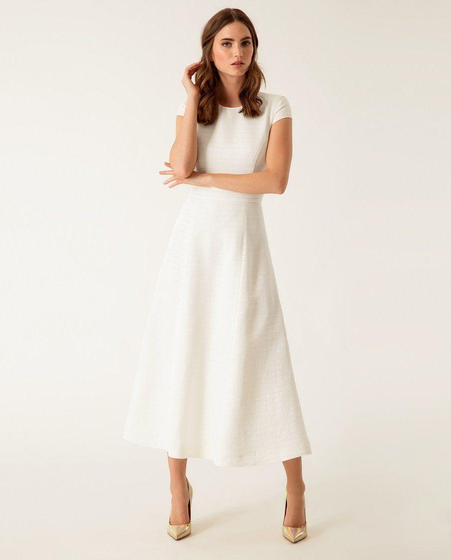 €14.14 - Midi Dress, Ivy & Oak  Weißes kleid mit ärmeln