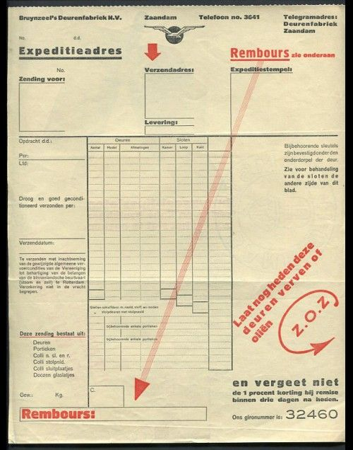 Bruynzeel Invoice (Front), c1920\u0027s Design Piet Zwart assymetric - what is invoice