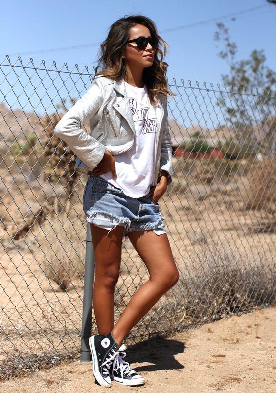 Denim shorts   white tee   jacket   converse high tops = new ...