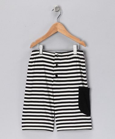 Take a look at this baobab Black & White Stripe Pocket Organic Shorts - Boys by European Flair: Kids' Apparel on #zulily today!