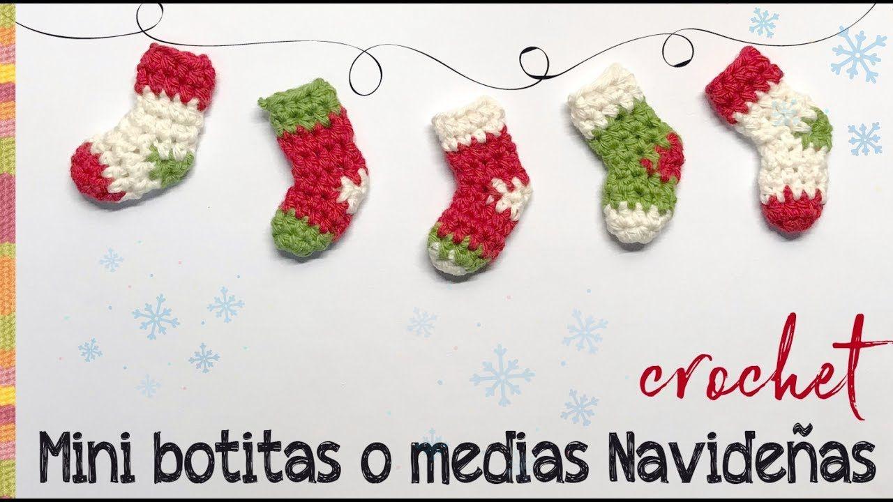 MIni botitas o medias de Navidad tejidas a crochet en 5 minutos ...