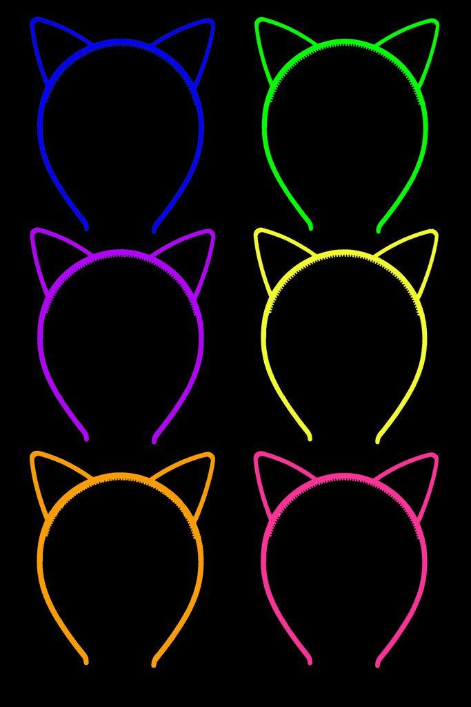 64374179e17 Glow in the Dark Neon Cat Plastic Headbands