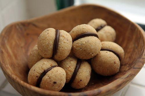 Baci di dama - gluten-free Italian hazlnut cookies filled with chocolate