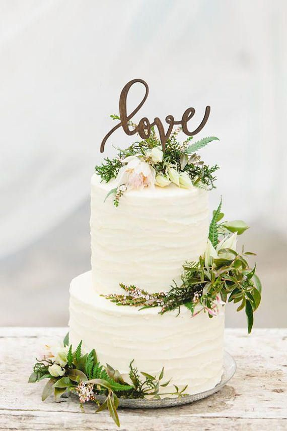 Rustic Love Wooden Wedding Cake Topper