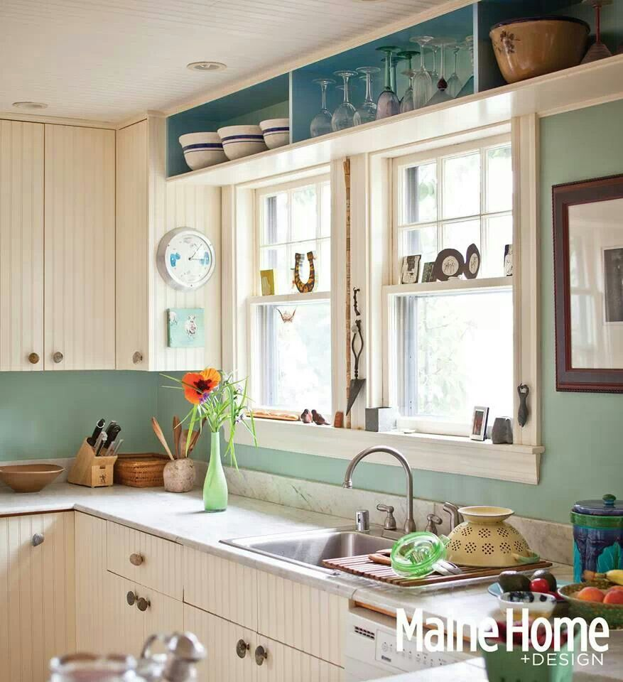 Window above kitchen cabinets  lovely  blues through aqua teal  pinterest  kitchens