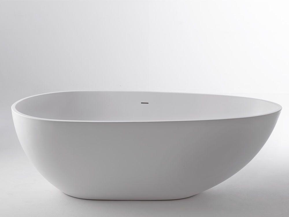 Freistehende Badewanne Wanne 170 X 87 Cm Aus Composite Stone Weiß Mineralguß