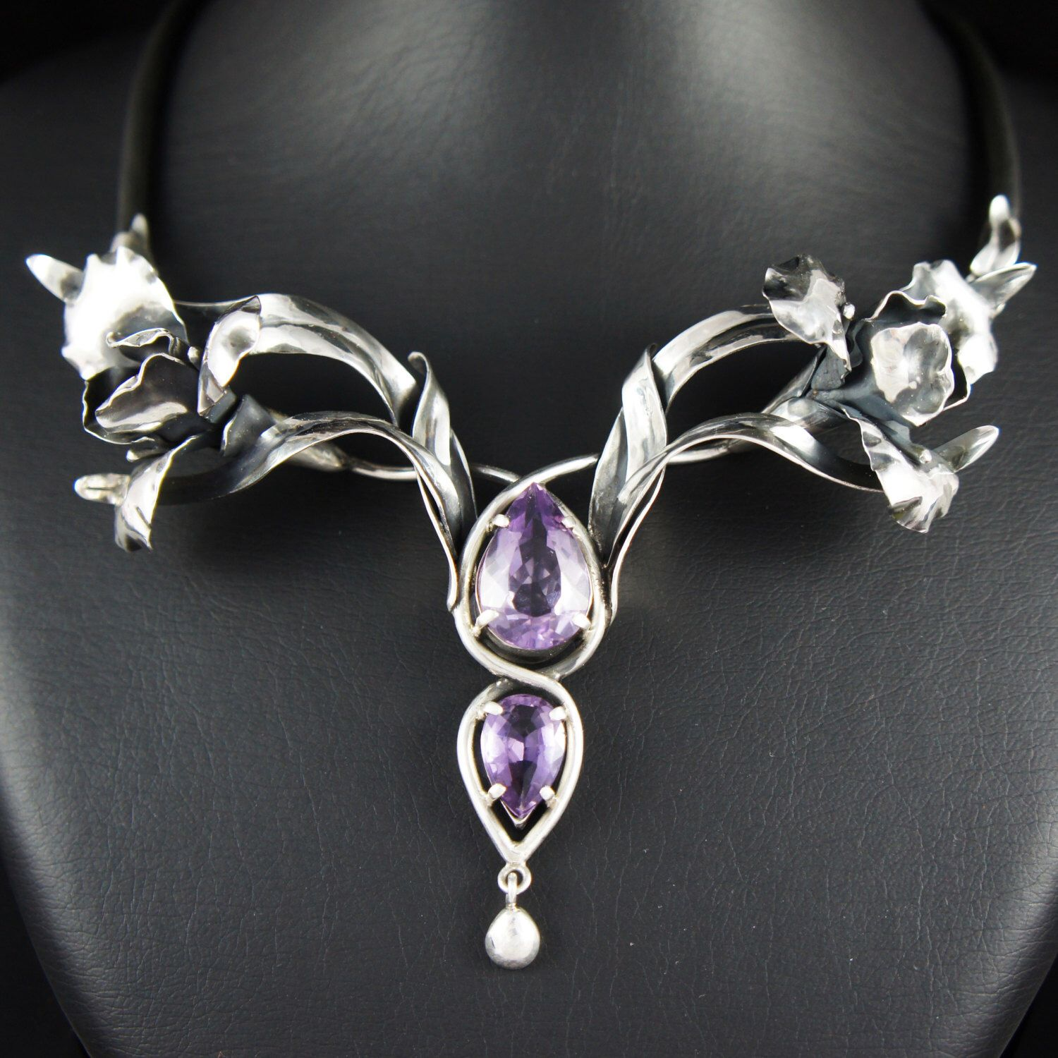 Iris flower and amethyst statement necklace - OOAK Art Nouveu sterling silver jewelry by TheManerovs on Etsy https://www.etsy.com/listing/161339010/iris-flower-and-amethyst-statement