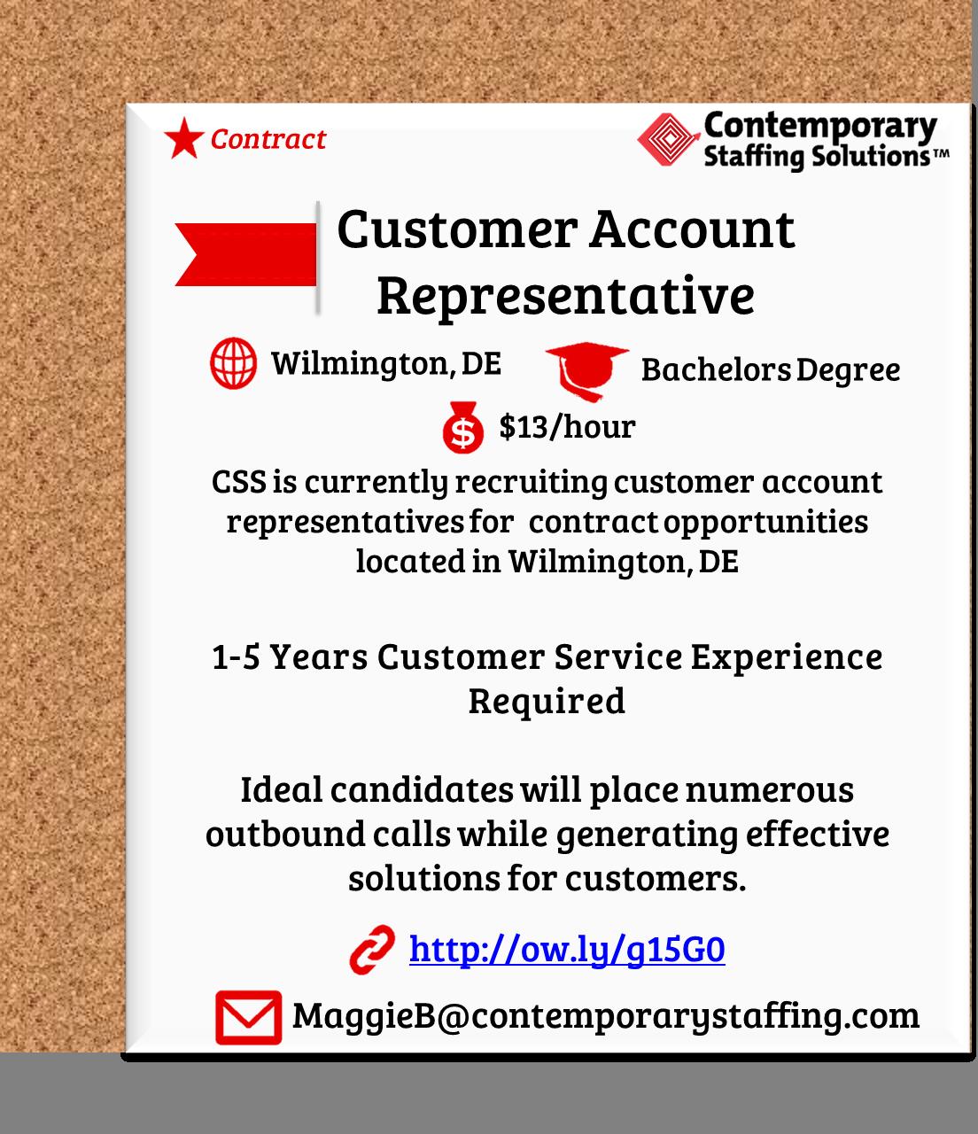css is  hiring customer account reps in wilmington  de