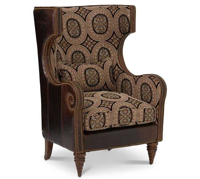 Awesome Michael Amini Victoria Palace 61936 MULTI 29 Leather / Fabric Wing Chair