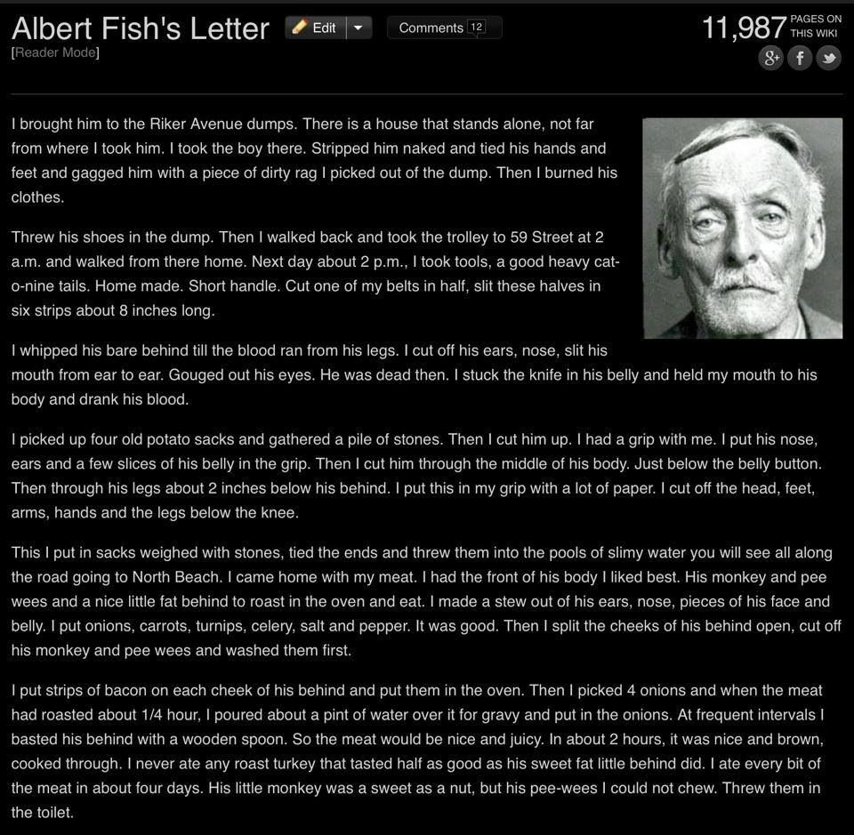 Albert fish letter scary stories and images pinterest for Albert fish letter