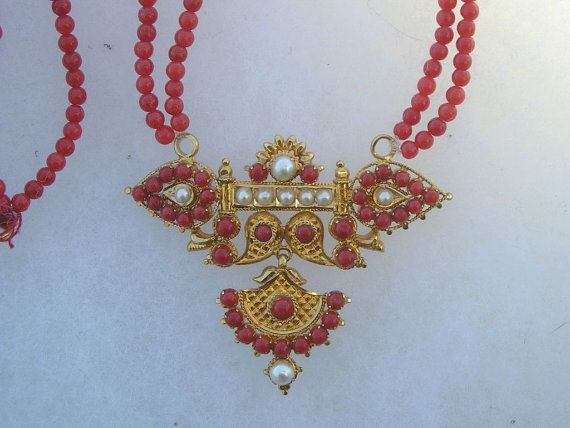 Beautiful 22K Gold Red Coral & Pearl India Ethnic by acrazeelady