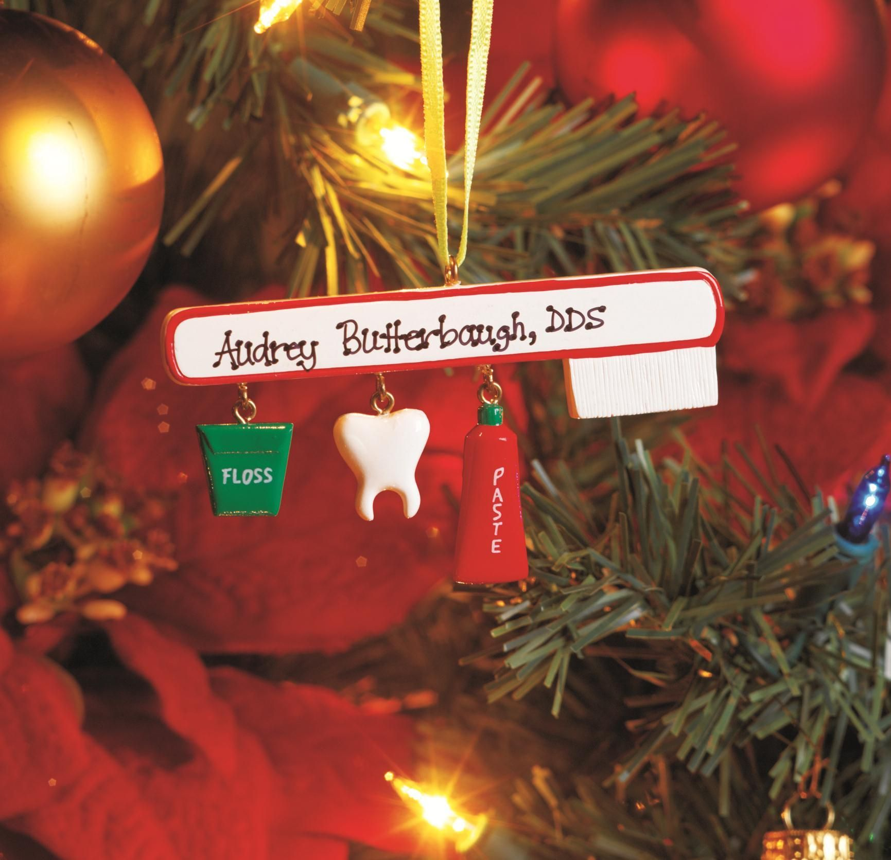 Toothbrush ornament with charms personalized dental