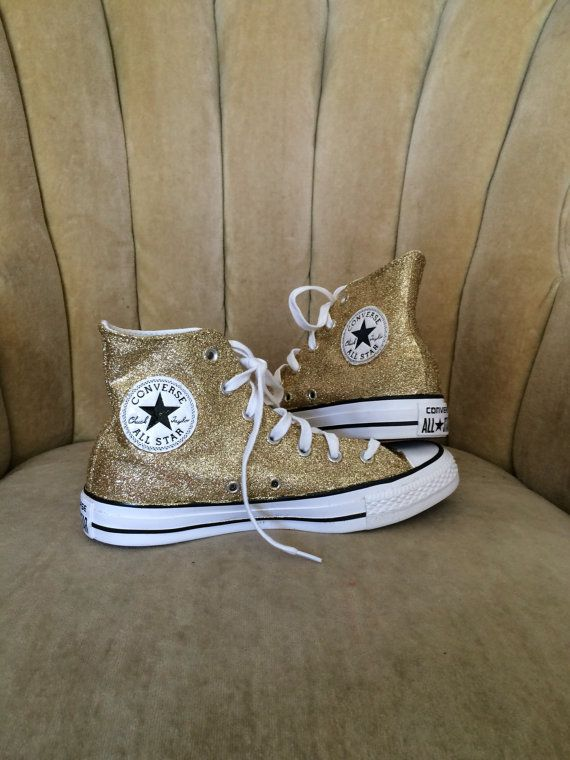 7ca369672ff6 Authentic converse all stars in gold glitter. Custom made to order ...