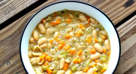I originally made this soup trying to recreate the side of white beans at Zoe's Kitchen, which is too high in oil to my liking. ~ Alina