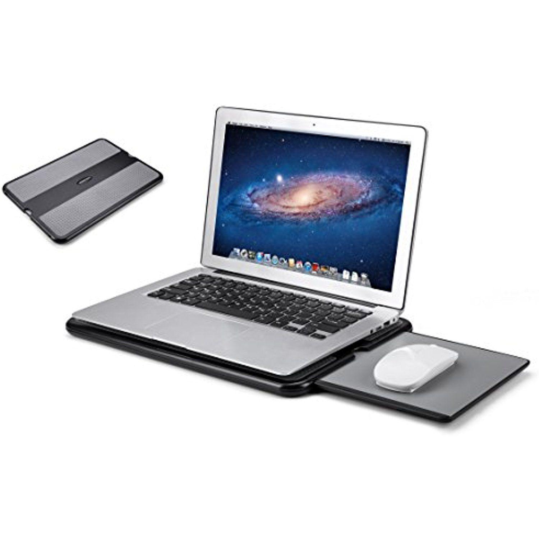 Abovetek Portable Laptop Lap Desk W Retractable Left Right Mouse Sturdy Pad Tray Non