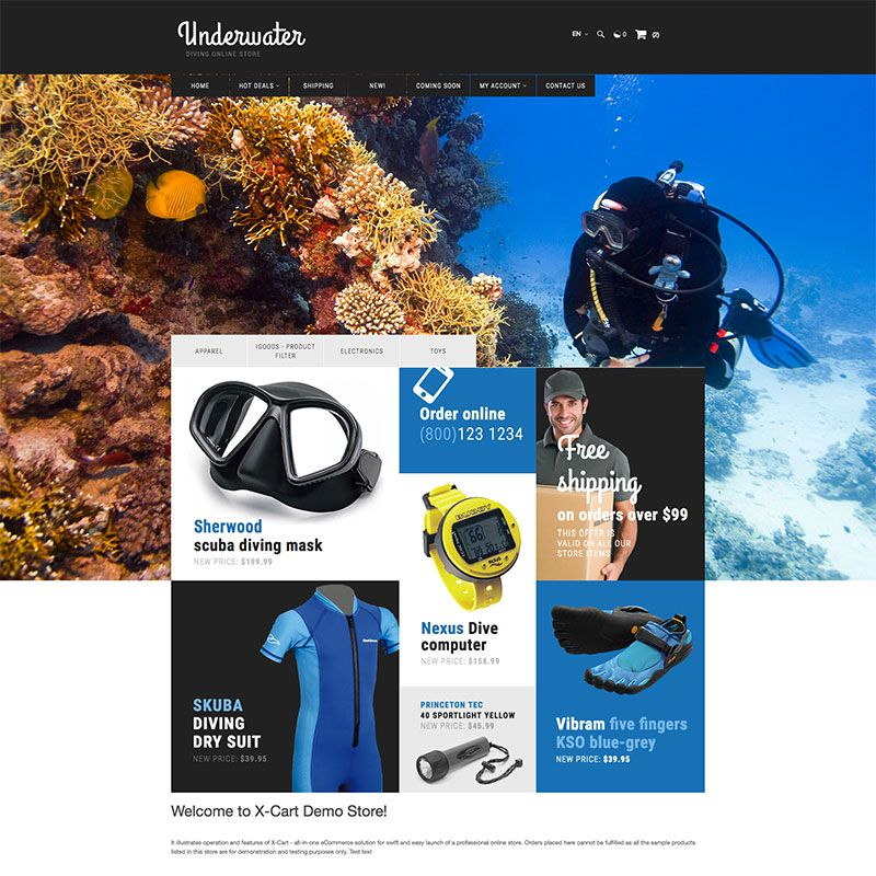 Scuba Diving X-Cart Template | Template and Ui ux