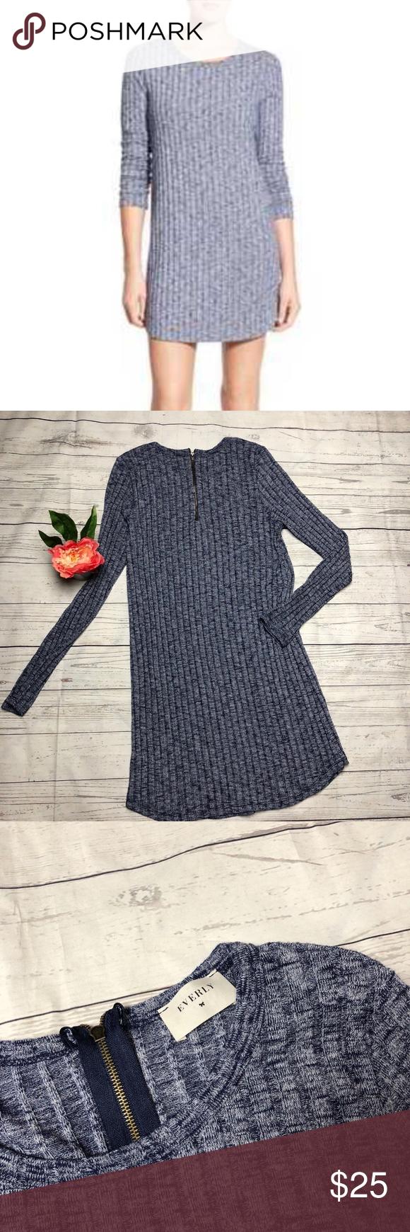 sale everly blue u white knit ribbed dress everly dresses zip