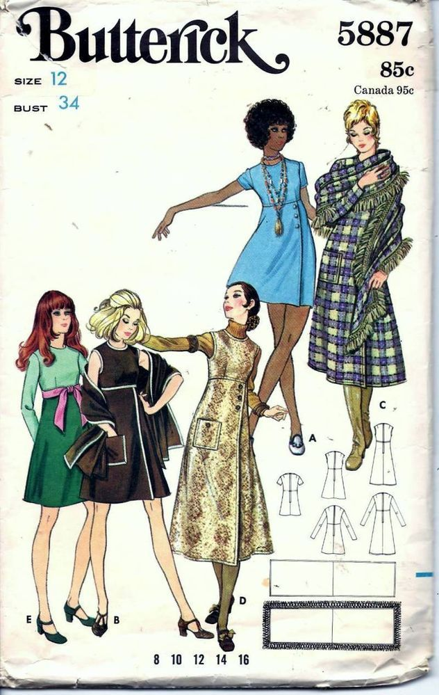 "Vintage 60s 70s Dress Or Jumper Sewing Pattern 5887   I made this in 1970, the ""midi version I had brown lace up knee high boots. Brown wool with the shawl that had a fringe ends. LOVED this dress."