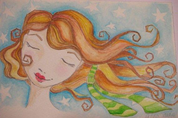 Dreaming Girl - Original 4 x 6 Watercolor