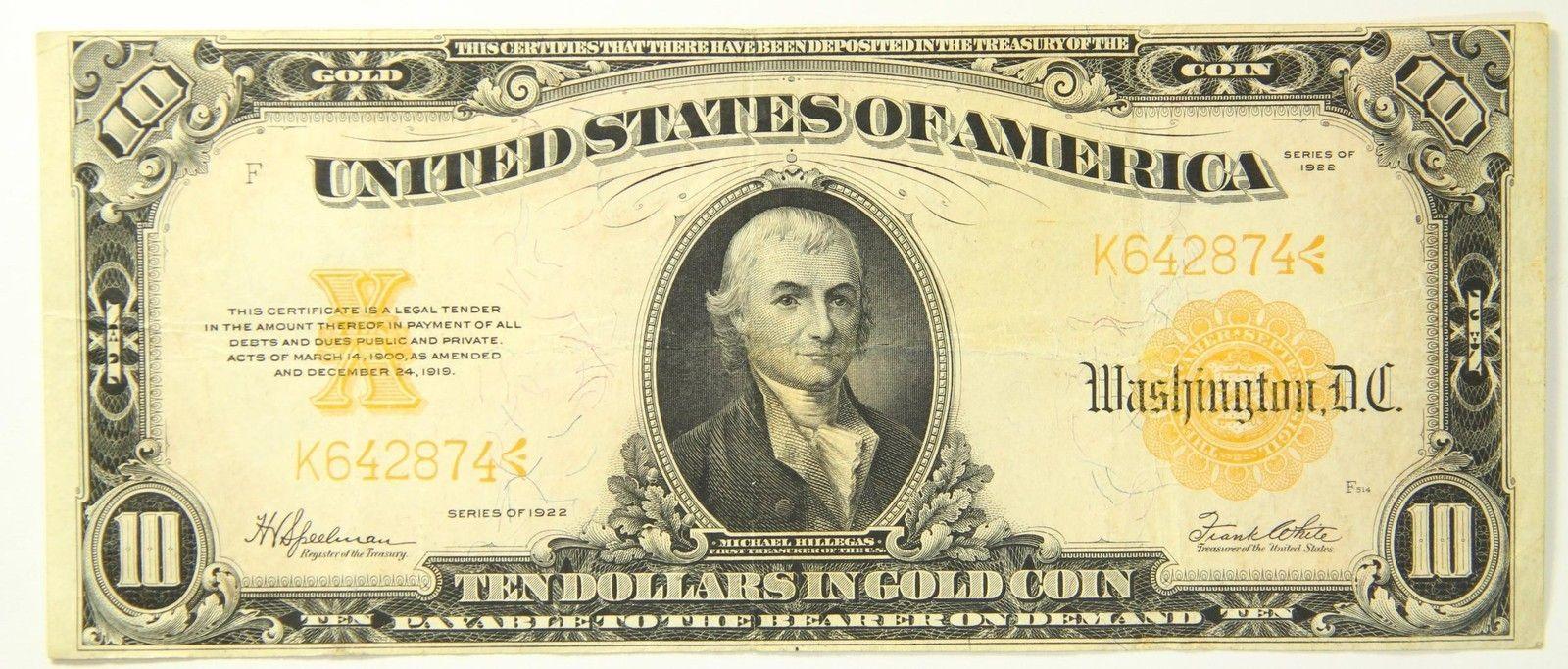 1922 Ten Dollar 10 Bill Gold Certificate Large Note F 1173 Gold Seal