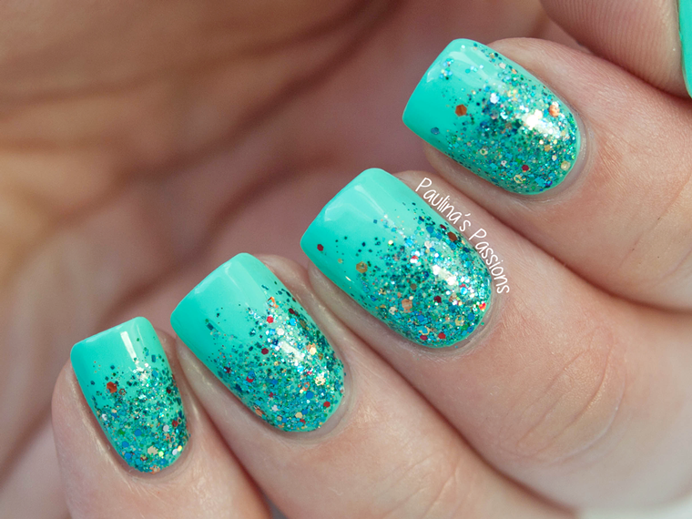 Simple Glitter Gradient Nails with Shimmer Polish Jasmine | nails ...