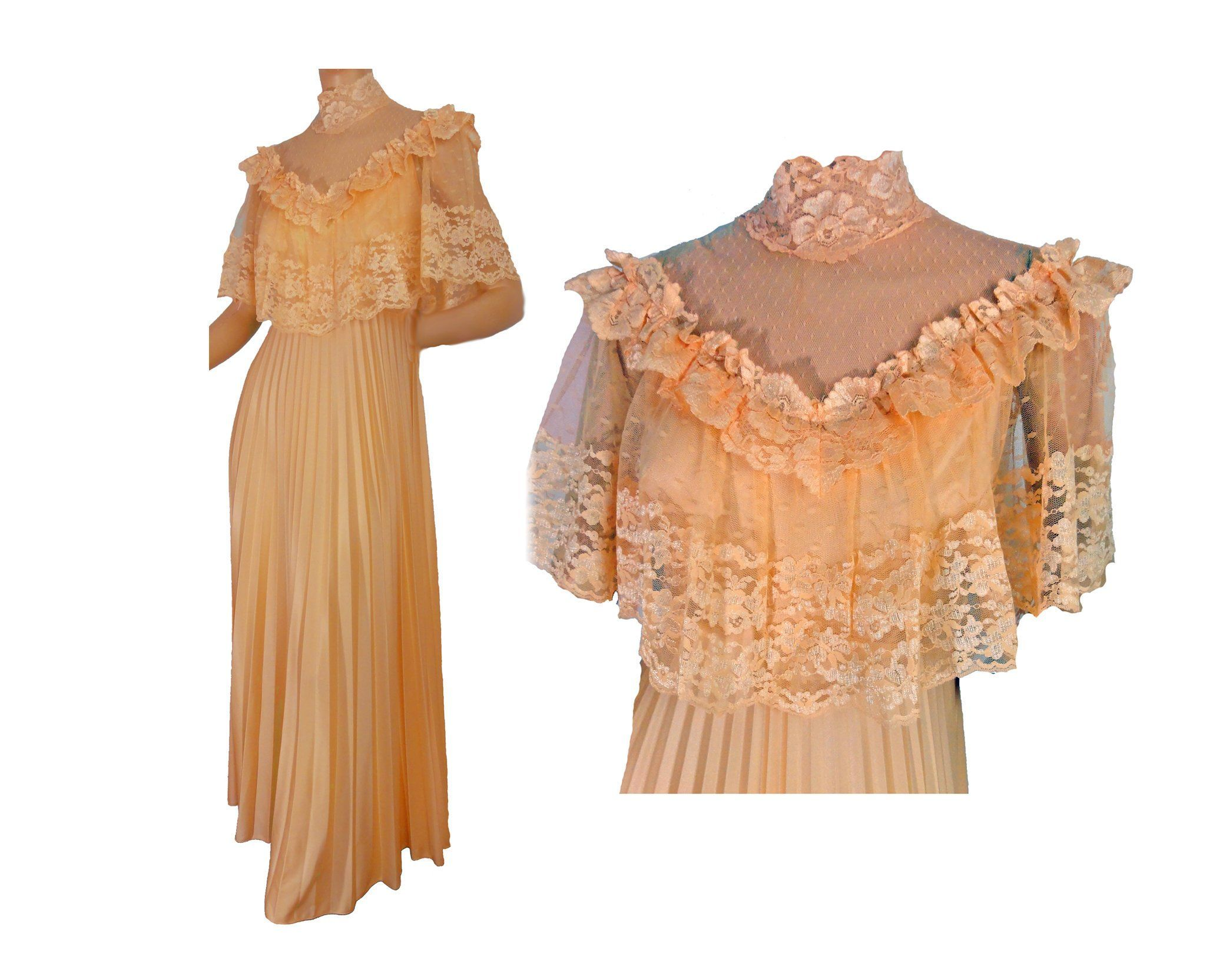 Vintage 70s Prom Dress Peach Orange Lacy Formal Evening Gown Pleated Skirt Victorian Revival 70s Prom Dress 70s Prom Evening Gowns Formal [ 1665 x 2055 Pixel ]