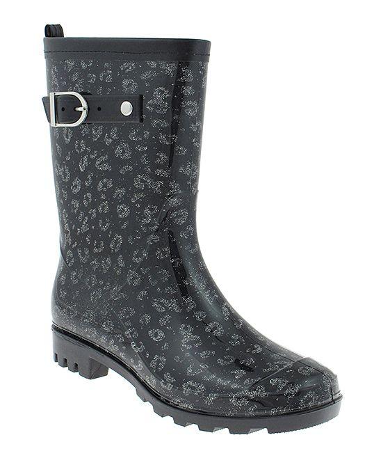 Black Shiny Glitter Leopard Rain Boot