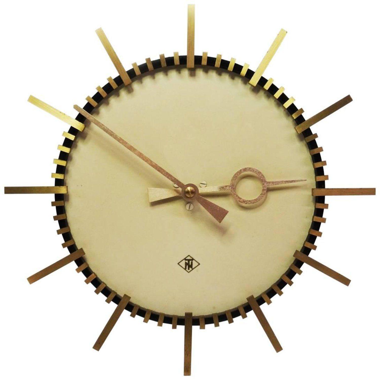 Elegant Telenorma Electric Brass Wall Clock - 1414 N Harper