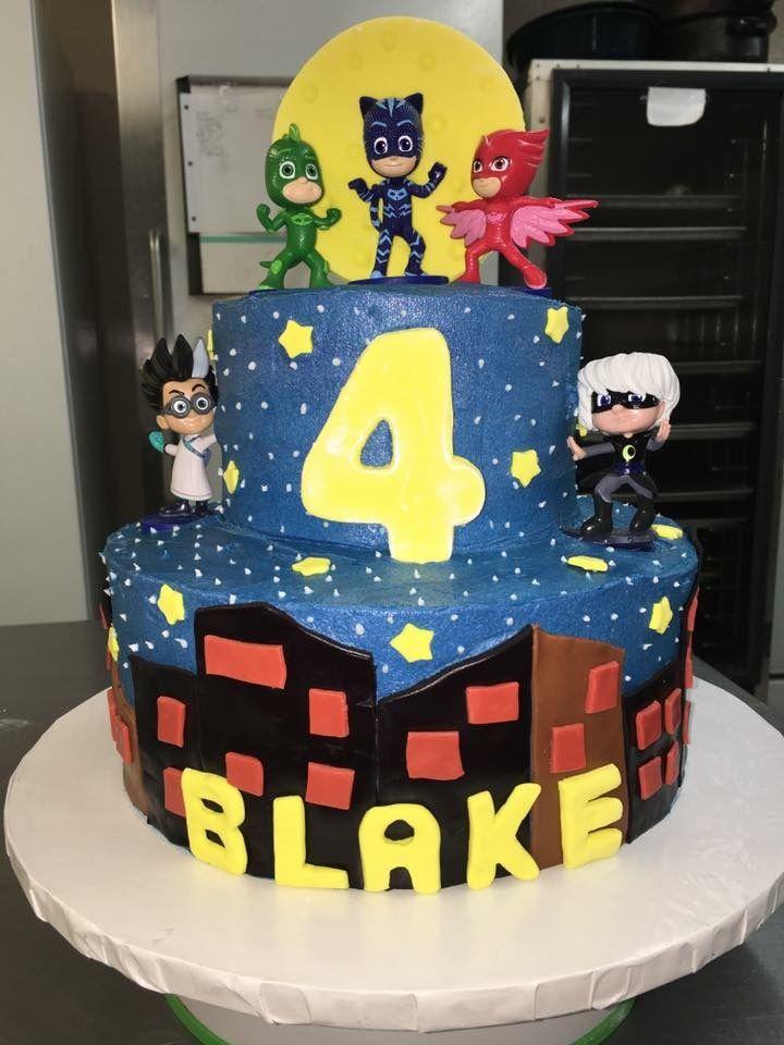 pj mask theme birthday cake, round cake, two tier cake
