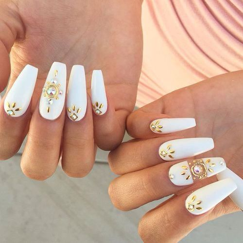 White Nails With Gold Embellishments And Rhinestones White
