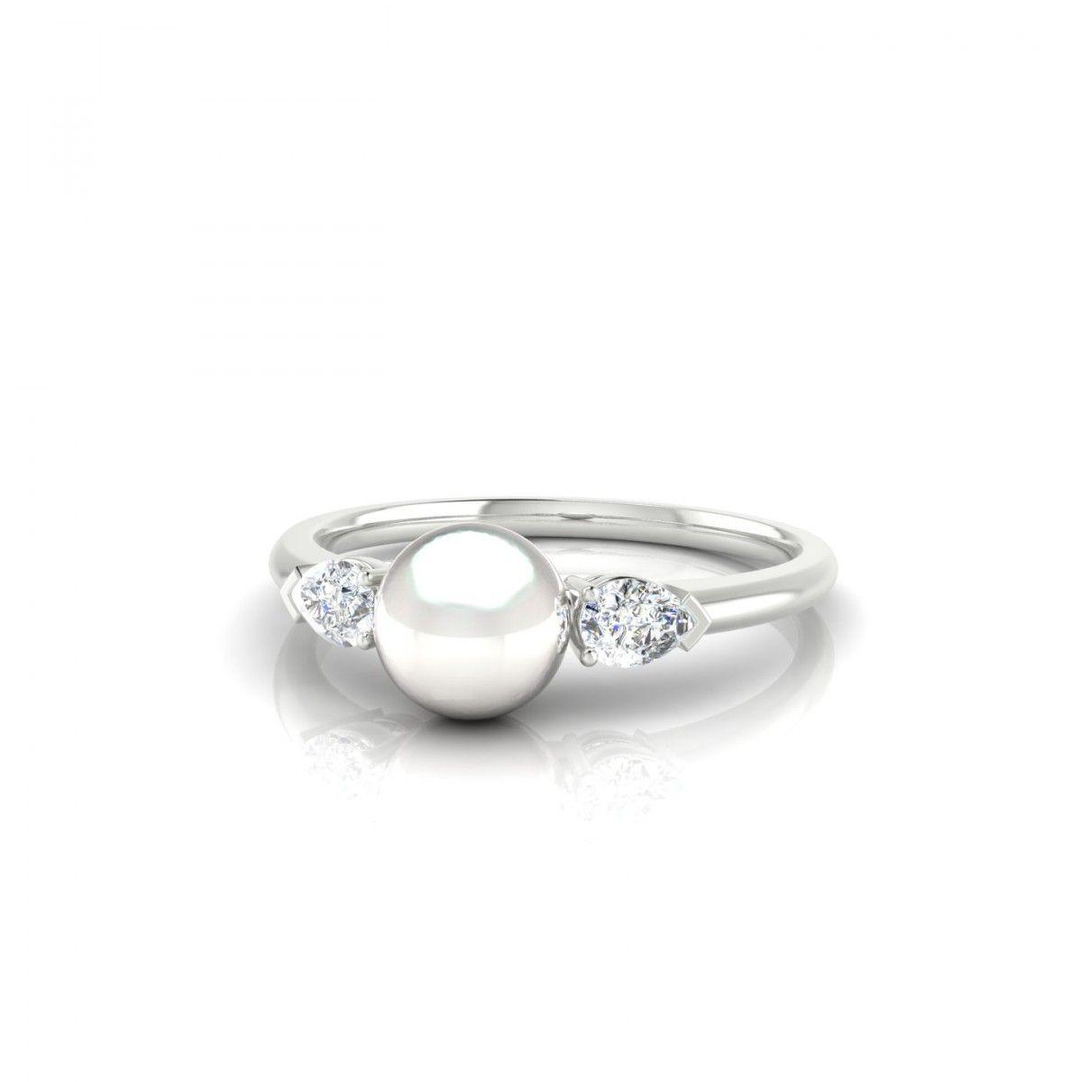 670e01ad750 Orama Bague Perle d eau douce blanche en Or blanc