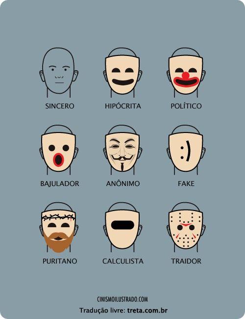 As Mascaras Da Hipocrisia Treta Cinismo Ilustrado