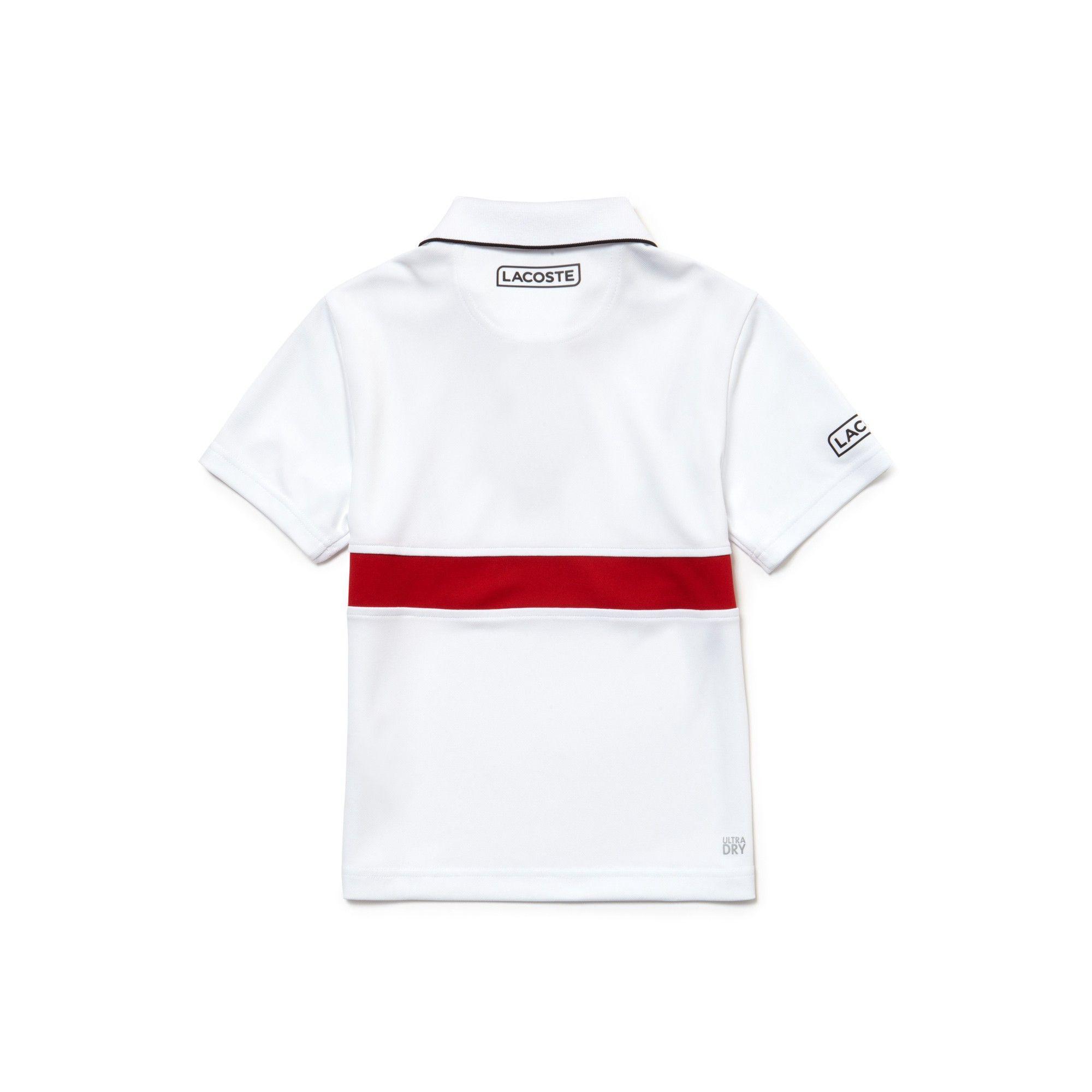 Lacoste Boys  Sport Technical Piqué Polo - Novak Djokovic Collection  White Black-Red 14 Years 35ba94c5a3