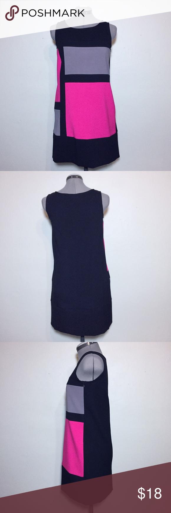 New gapkids pink u black colorblock shift dress nwt long sides