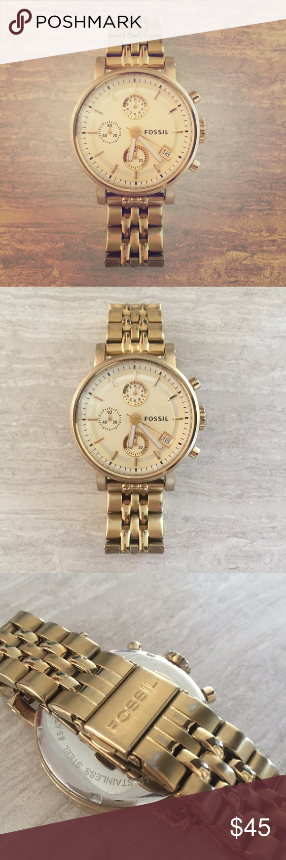 Fossil gold boyfriend watch Fossil gold boyfriend watch, in perfect working condition does show some slight wear on the back of the band please see pictures. Fossil Other