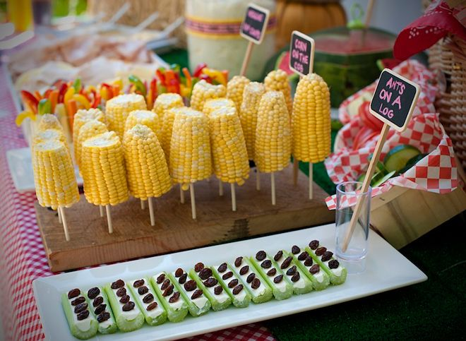 Fall Picnic Party  ....corn on a stick seems so obvious, but I've never served it this way....looks more festive somehow....I like the veggies in a cup of dip behind the corn too...I've seen that here on pinterest  @Keri Whaitiri Always