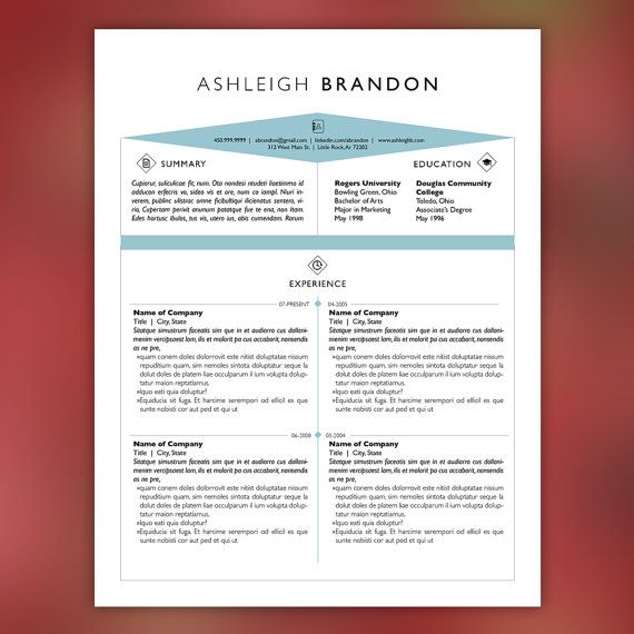 Art Field Resume Template and Cover Letter Template for Word DIY