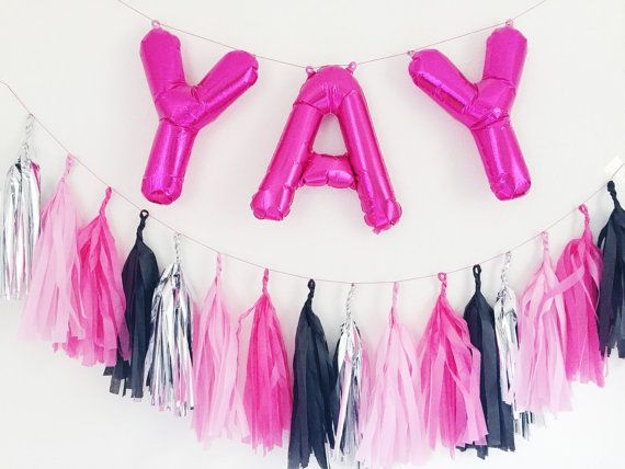 Yay Letter Balloons With Full Tassel Garland  Pink Foil Mylar